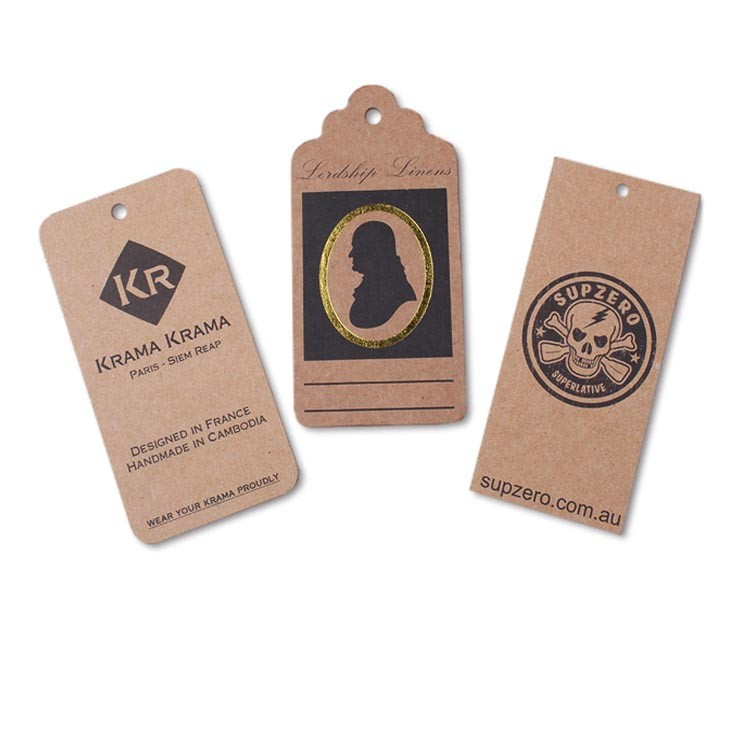 Low Price Vintage Custom Paper Hang Tags, Recycled Paper Price Tag Label Printing