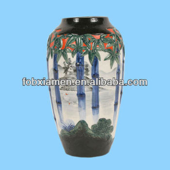 Embossed Seascape Antique Glazed Ceramic Vase