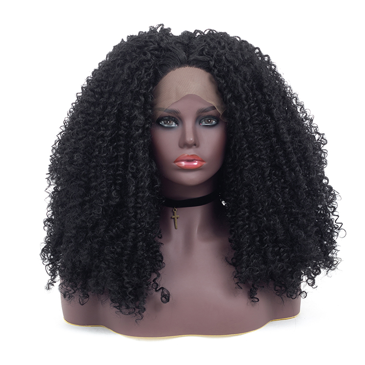 Mulheres Negras baratos Big Sintético Cabelos 13*4 Afro Kinky Curly Parte Oriente Lace Front Wigs