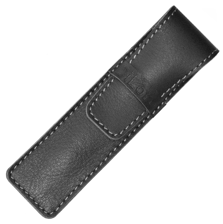 DiLoro Full Grain Top Quality Thick Buffalo Italian Leather Single Pen Case Holder- Black