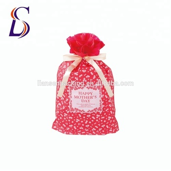Christmas Party Ribbon Tie Non Woven Plastic Gift Packing Bag For Sale