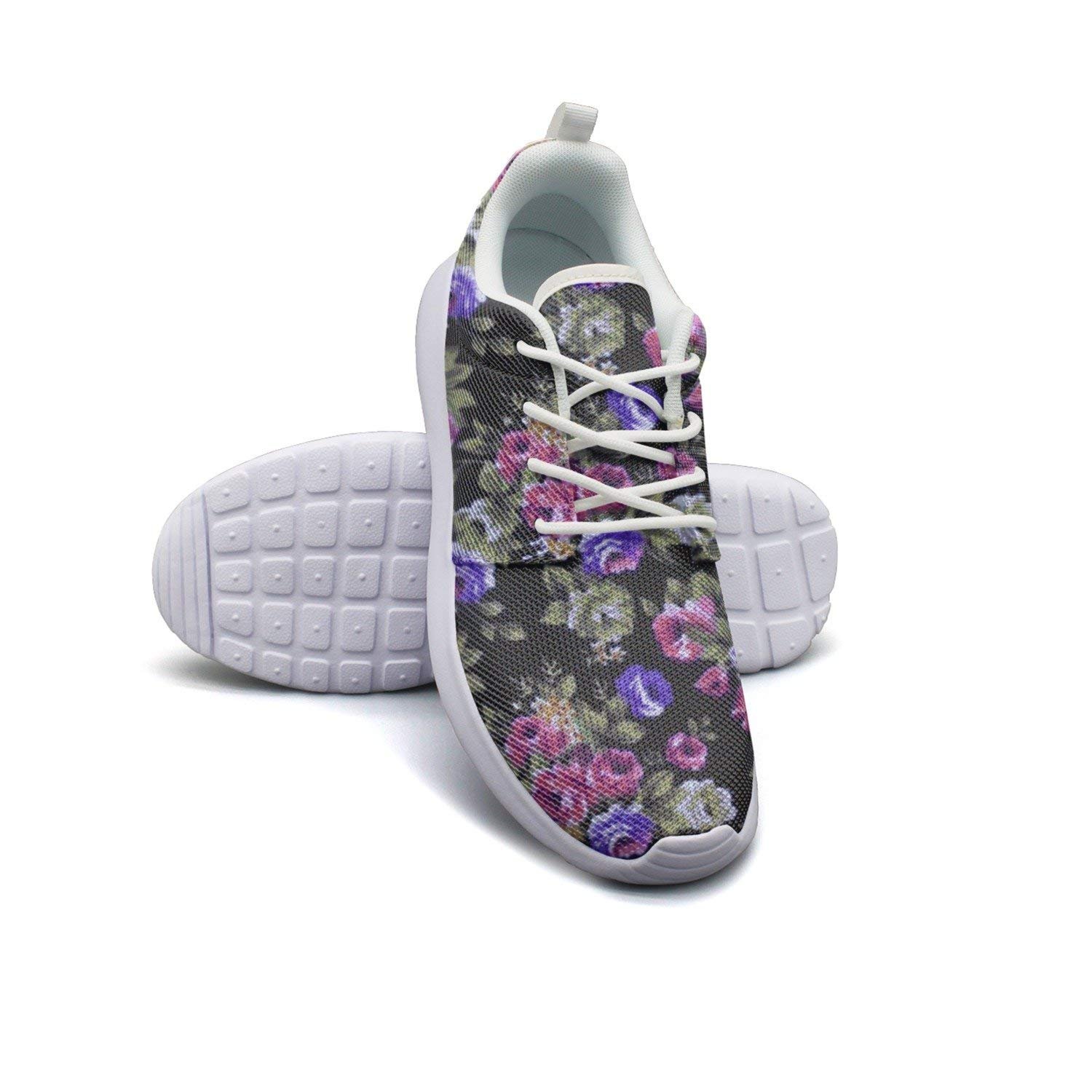 watch 2e4f4 24bcd Get Quotations · HJXJESSIE Womens Pink And Purple Flowers Running Shoes  Jogging Runner Sports Sneakers