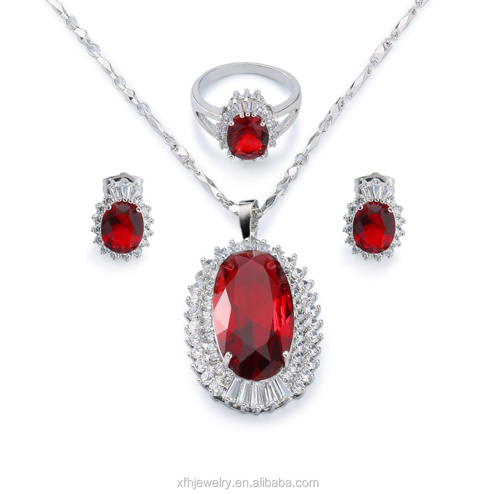 fa8d80bdb3 Long chain ruby stone jewelry sets ring necklace earring sets for women,  Jewelry Micro Pave Setting gold plated jewelry sets