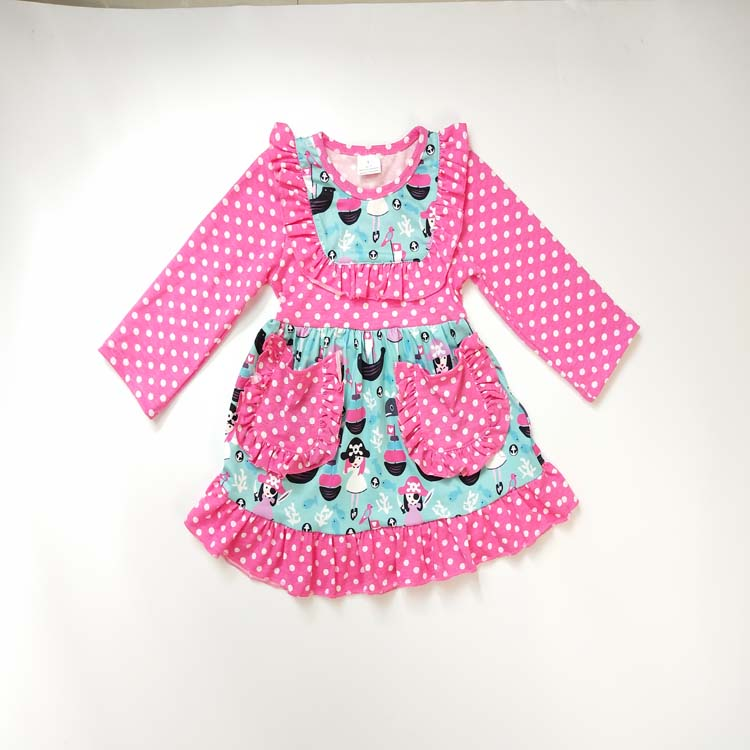 Factory price bulk wholesale kids clothes boutique fall polka dot fabric small girl dress