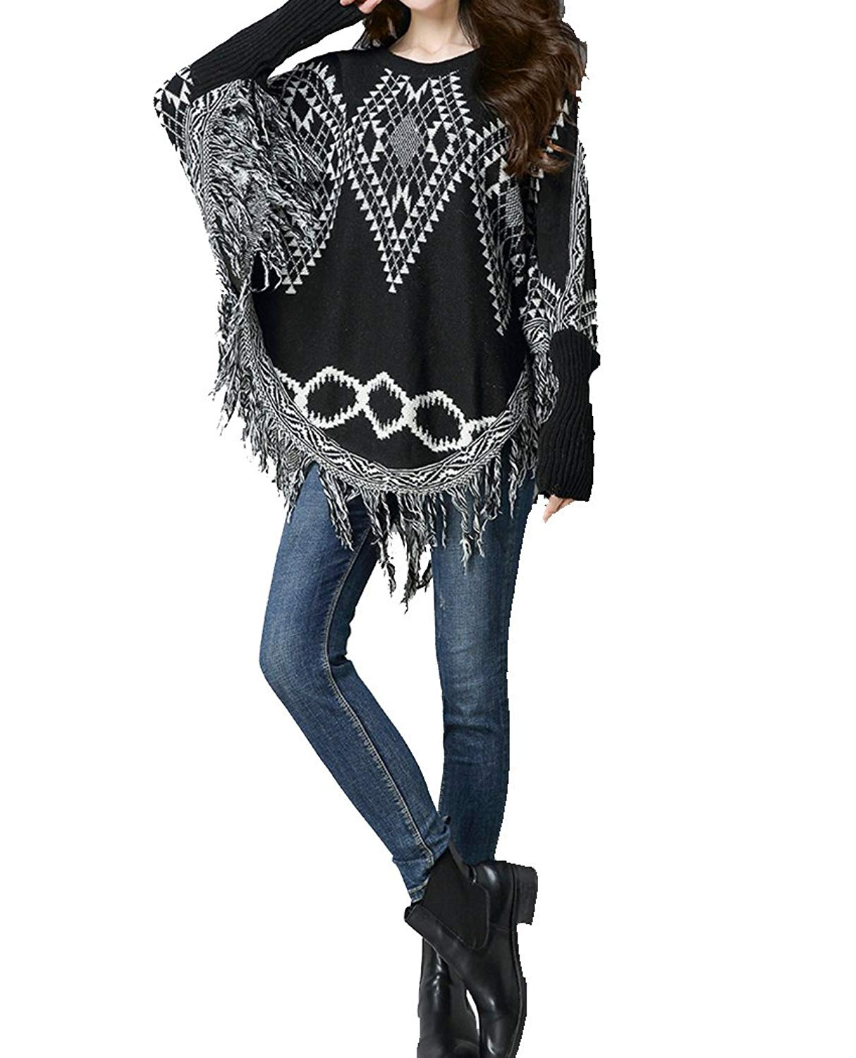 5359623c5 Get Quotations · FOURSTEEDS Womens Plus Size Knitted Pullover Ponchos Capes  Shawls Sweater Coat