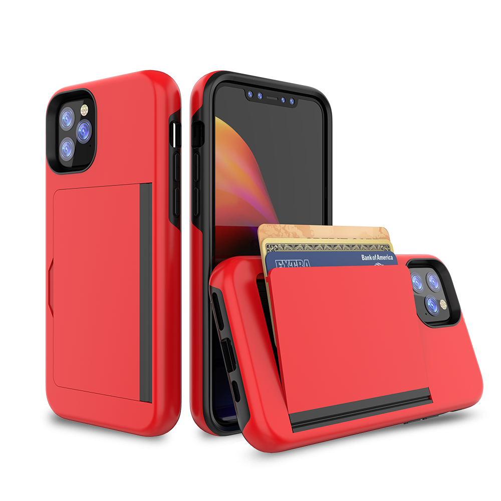 NIEUWE Luxe Effen Kleur Mobiele Cover 2-in-1 TPU + PC Card Wallet Cell Phone Case Voor iPhone 11 2019