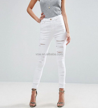 d33c0444446 Latest slim fit scratch jeans girls plain ripped white women pencil pants