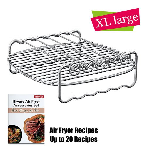 Non-stick Barrel//Pan 5.8QT Air Fryer Accessories For Gowise Philips And Cozyna Metal Holder Cookbook Included kaviatek C-50 Fits All 3.7QT Multi-Purpose Rack with Skewers and Silicone Mat
