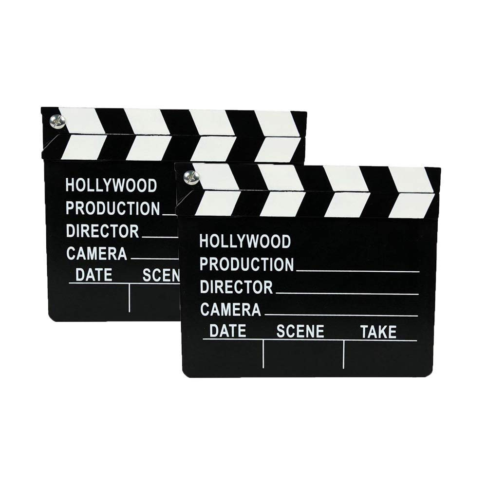 BYBYCD 2 Pcs Director's Film Movie Clapboard, Clapper Chalkboard Cut Action TV Movie Scene Clapper Board Slate with Black Sticks