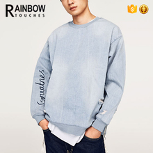 Wholesale New Fashion Oversized Men Ripped Denim Sweatshirt