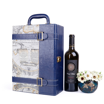 Customized antique 2 bottle wine gift packaging box,  portable wine gift box