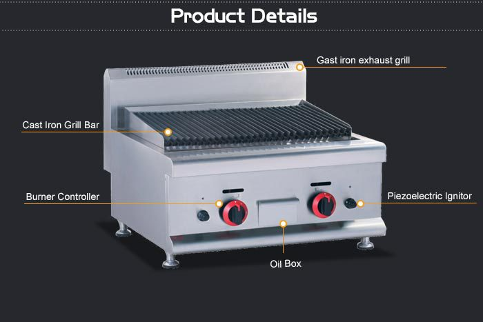 Counter Top Gas Lava Rock Charcoal Grill/Commercial Indoor Grill/Small Gas  Grill