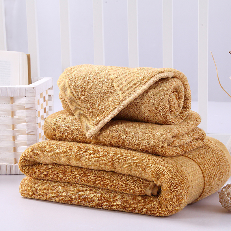 New Bamboo Fiber And Cotton Blend Bathroom Towels Set Of 3