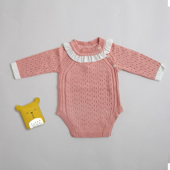2019 Spring Autumn Infant Girl Baby Pink Breathable Cotton Long Sleeve Romper