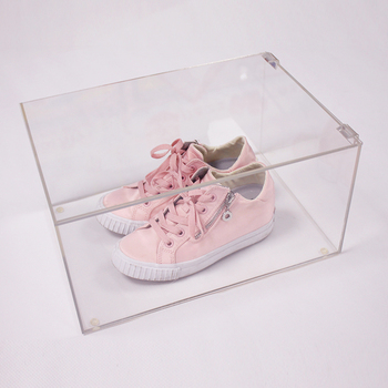 customized transparent 6 sided clear acrylic plastic sneaker boxes shoe display case box for shoes shop stores guangzhou