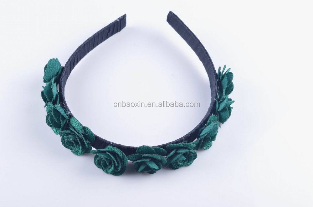 Dark green synthetic rose flowers decorative plastic headband/hair band for women