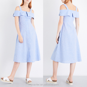Cold shoulders button through cotton dress with folded-over panel at yoke