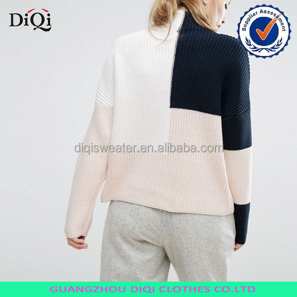 latest new color block chunky knit free size pullover sweater women