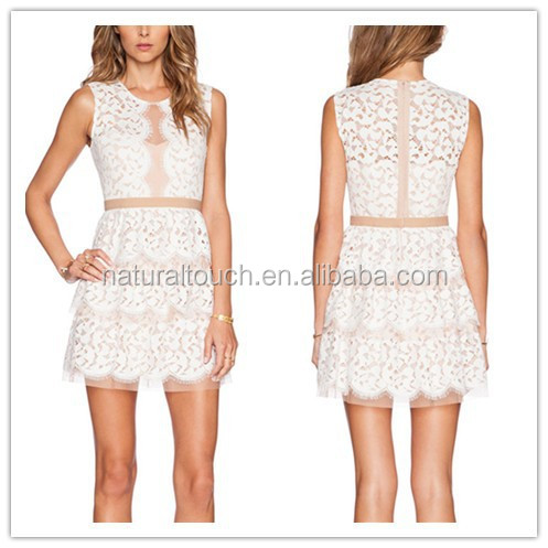 2015 The latest design, cocktail style ladies white lace short dress (PY0025)