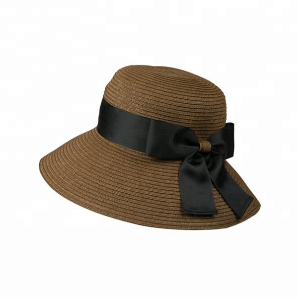 Women Ribbon Hat Floppy Large Beach Sun Straw Elegant Cap Product On