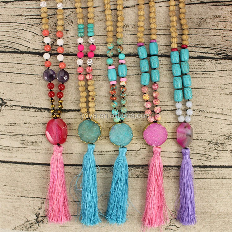 NE2101 Wholesale wooden beads necklace,peach tassel beaded necklace for women