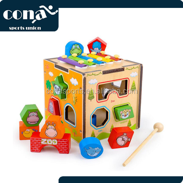 2017 Hot Sale Piano Animal Intelligence Box New Shape Classic Wooden Toy Popular Baby Educational Toy for kid With 12 Shapes
