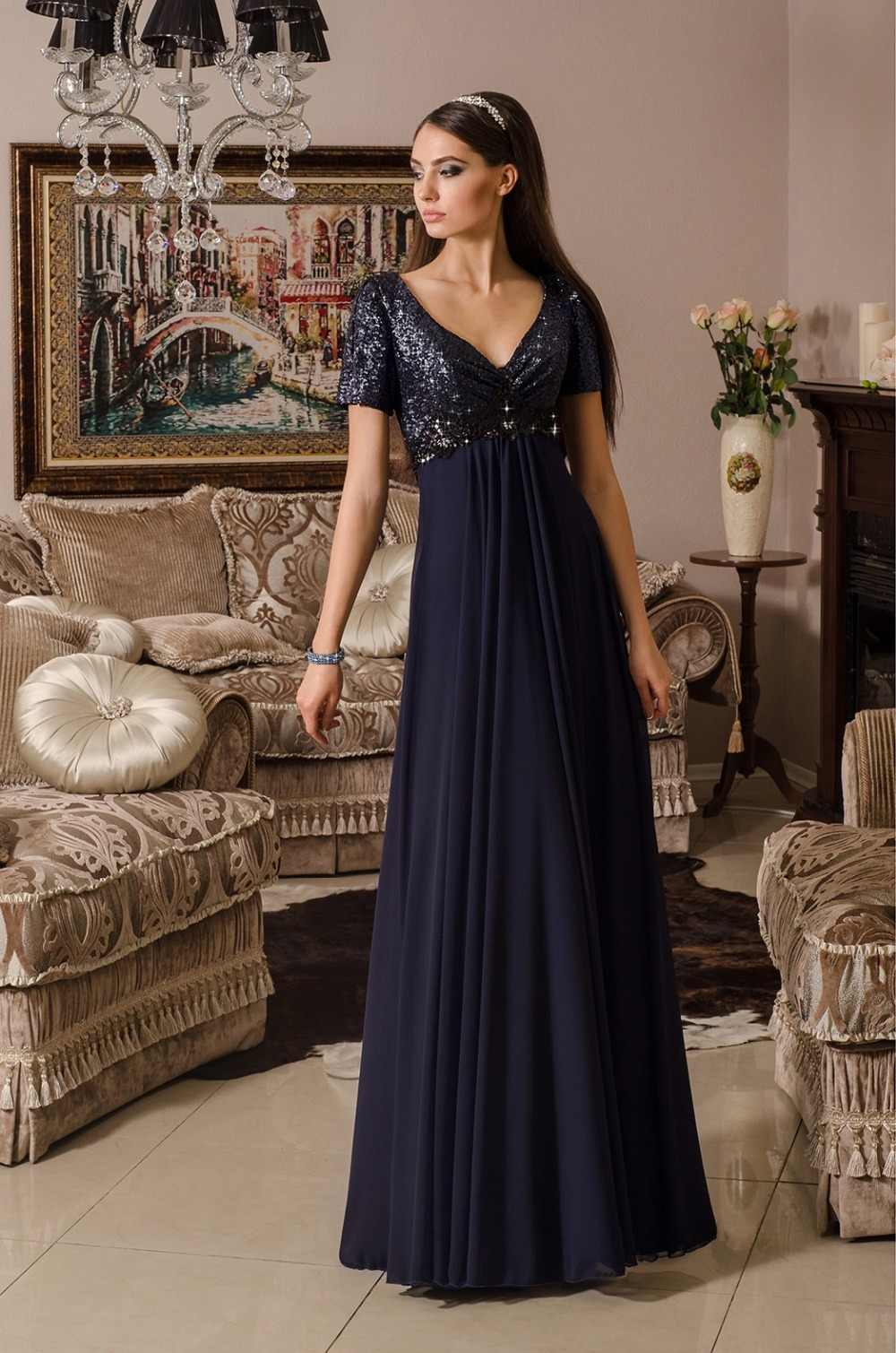 c59aba39025c0 AKD-05 Plus Size Formal Party Evening Gown 2015 Navy Blue Sequins Bodice  Short Sleeve Chiffon Evening Dress for Fat Women