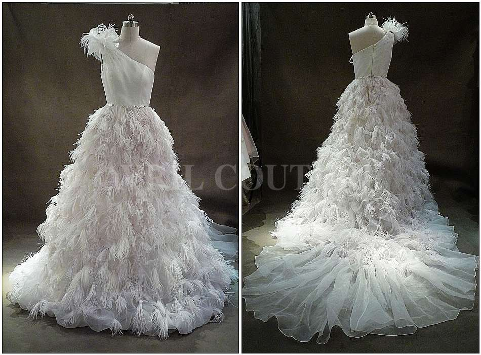Wholesale Wedding Dress-real Sample-feather-exquisite Fashion Design ...