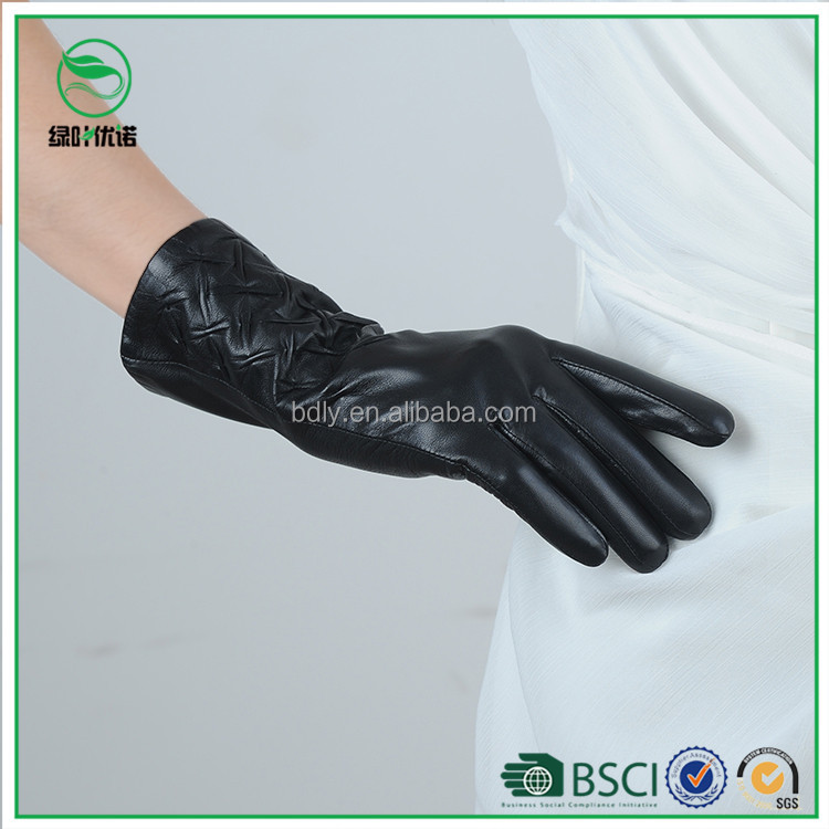 Wool Lining Real Leather Female Winter Gloves