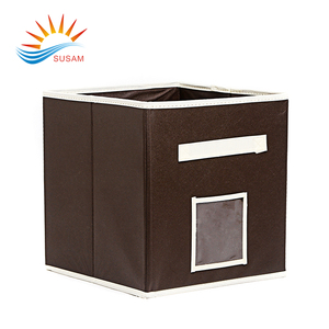 Diy brown mini simple recyclable nonwoven storage box with stripe