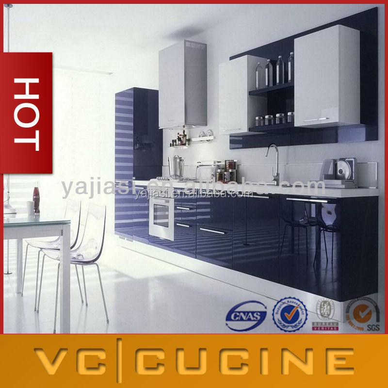 PVC painted high gloss kitchen cabinets colors