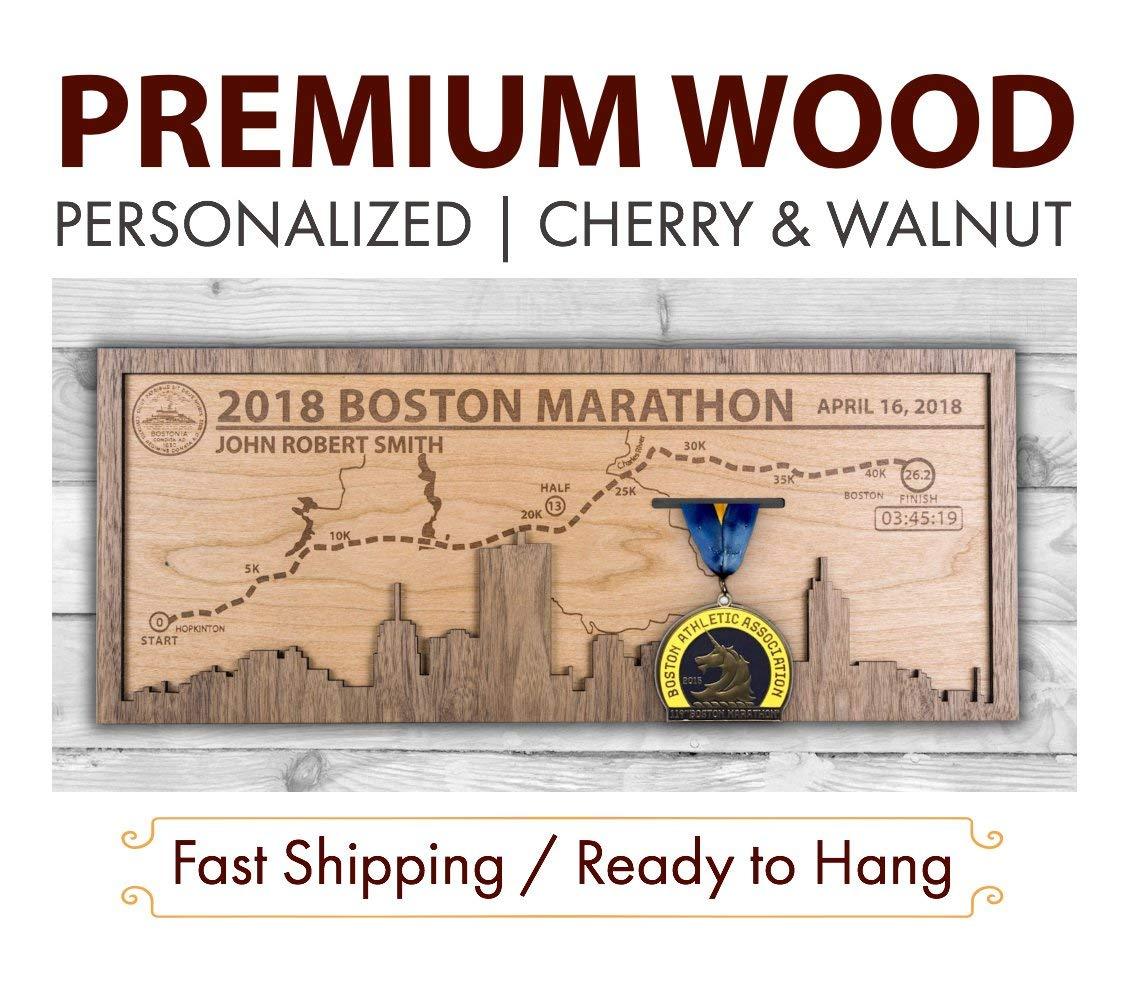 Boston Marathon Medal Holder - Wooden Medal Display - Marathon Medal Display Case - Marathon Medal Hanger - Gifts for Runner - Wooden Gifts