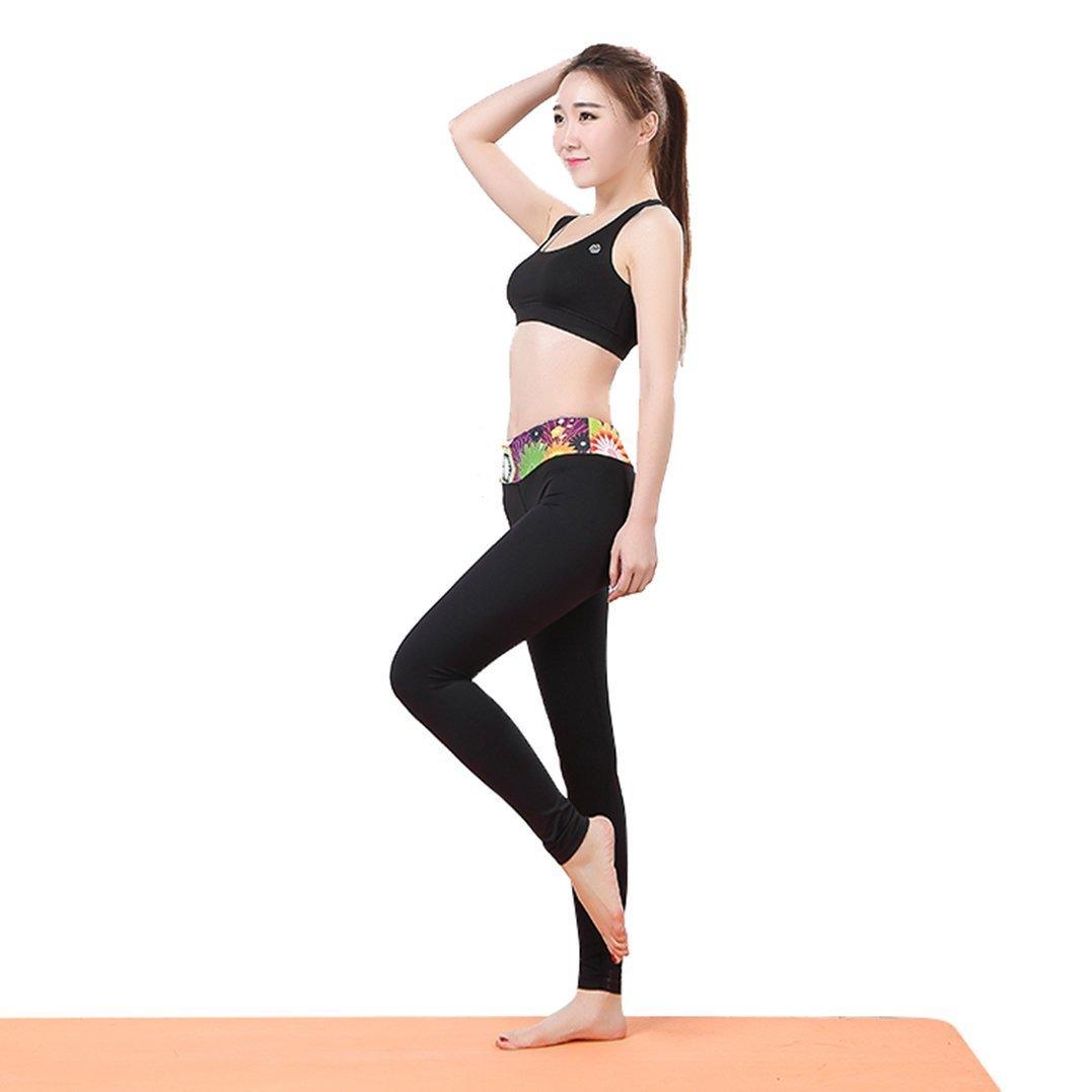 2e85c0da211b Get Quotations · Fullwell Women s Yoga Gym Floral Waist Floral Sport Long  Pants Black XL