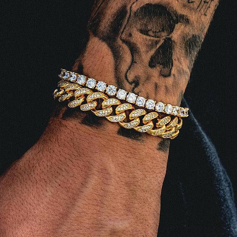 0fe749d58 Tênis De luxo Hip Hop Cuban Link Pulseira Iced Out 14 k Banhado A Ouro De
