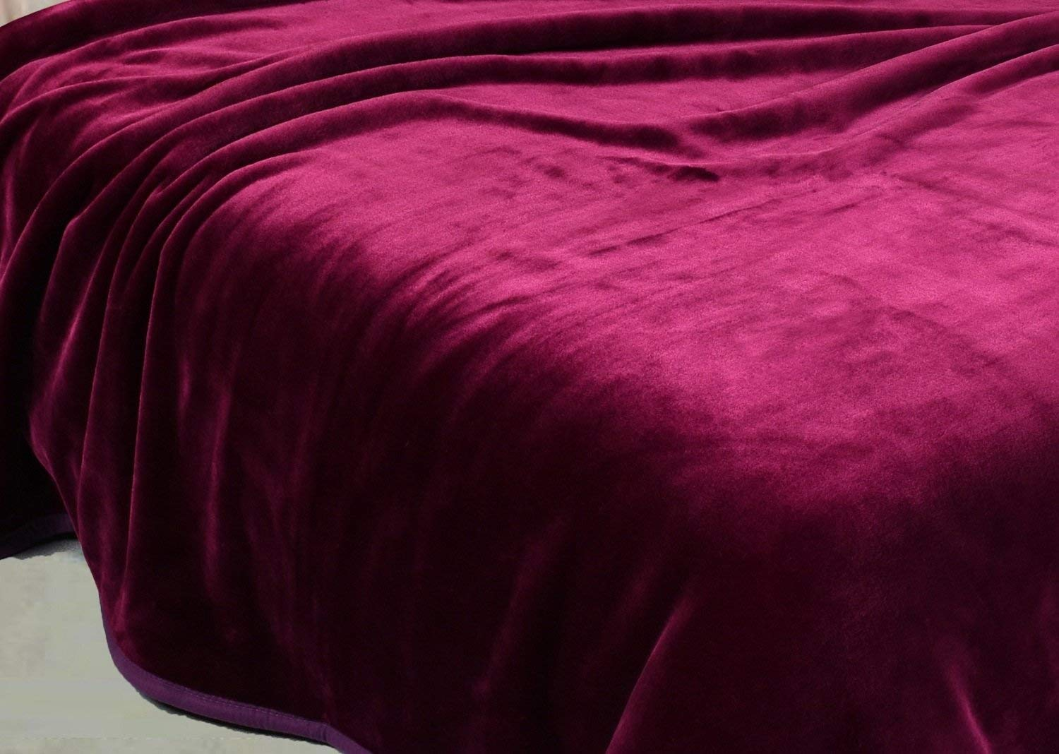 "Chezmoi Collection Heavy Thick One Ply Korean Style Faux Mink Blanket 8-Pound Oversized Queen 90x92"" (Queen, Purple)"