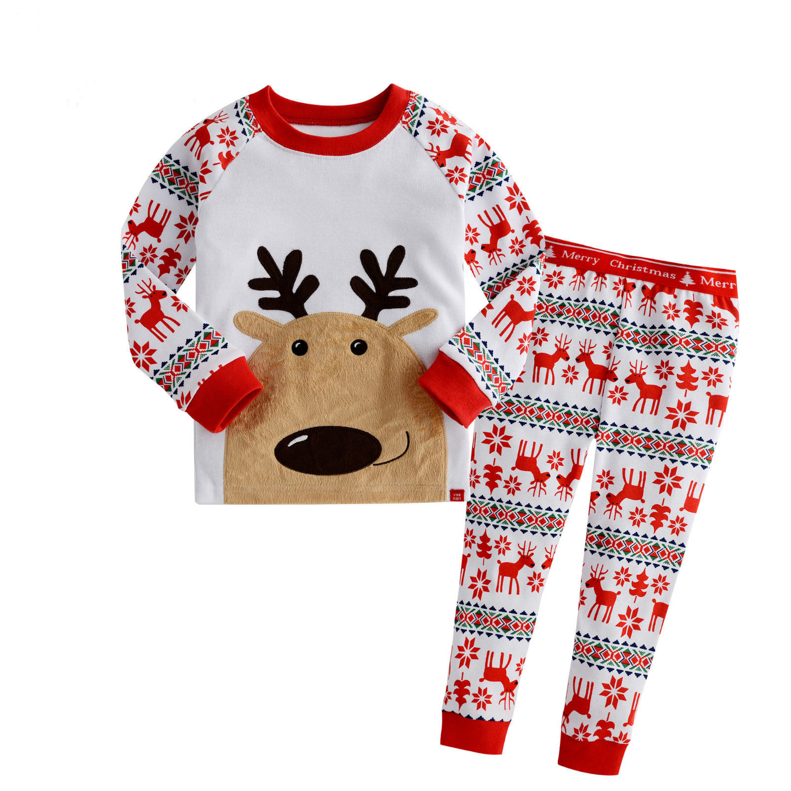 bf1fcad70 New Boys Girls Xmas Snowflake Reindeer Nightwear Sleepwear Pyjamas ...