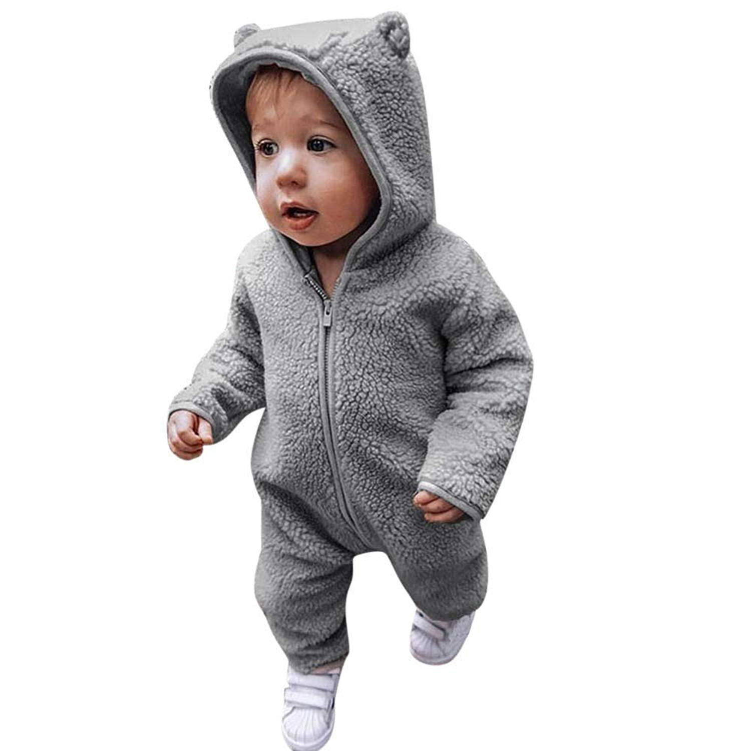 Toddler Infant Baby Girls Boys Cartoon Hooded Pajamas Romper, Warm Fluffy Plush Zipper Jumpsuit Sleepwear Outfits Clothes