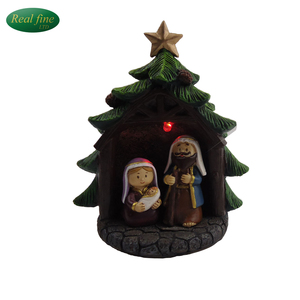 Exquisite Christmas cartoon resin nativity set for tourist souvenirs
