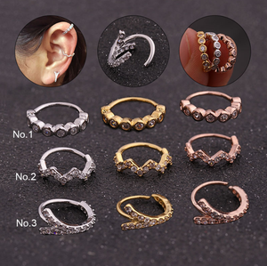 2019 New Nose Ring Lip CZ Ear Cuff Hoop Studs Eyebrow Cartilage Septum Cartilage Earring