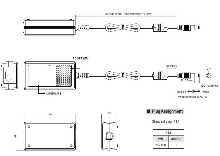 AC//DC DESKTOP ADAPTER 12V 25W GST25B12-P1J Pack of 2
