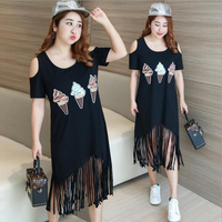 Hot Sale Elegant Plus Size off shoulder printed Tassel Black maxi Women Dress