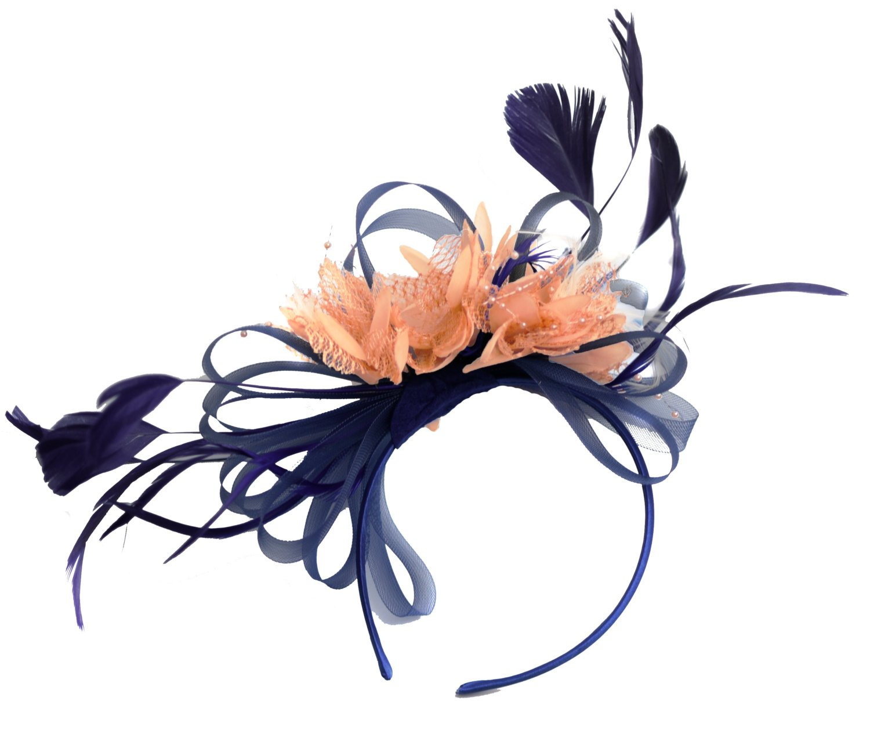 d9c7b27871e4b Get Quotations · Caprilite Navy and Peach Dusty Pink Fascinator Hat On Headband  Weddings Derby