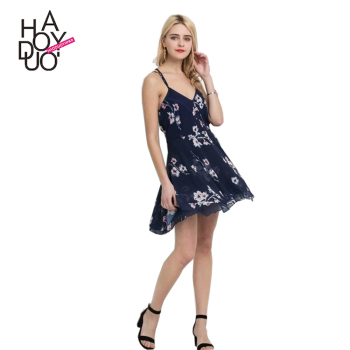 HAODUOYI Women Sexy Crossback Dresses Mini Slim Fit Dresses Floral Print Dresses for Wholesale