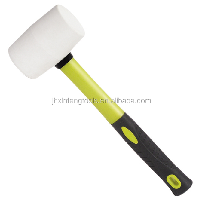 white rubber hammer mallet with fiberglass handle rubber pvc antislip hanger hook