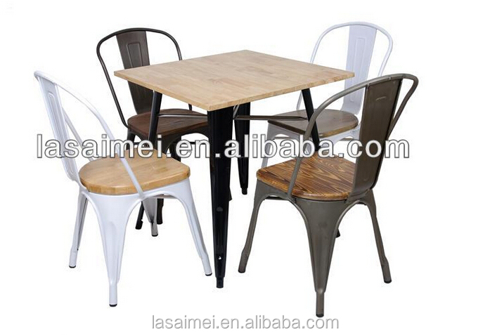 Metal Dining Chair And Table Restaurant Chairs With Wooden Top Buy