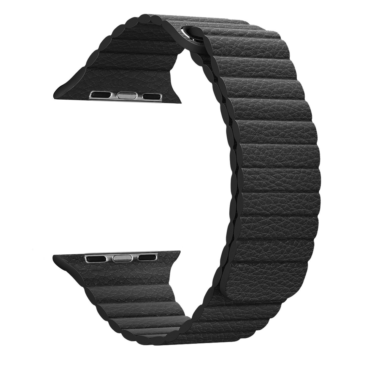 Apple Watch Series 1 Series 2 Band 42mm, BRG Leather Loop with Adjustable Magnetic Closure iWatch Band Replacement Bracelet Strap for Apple Watch Sport and Edition 42mm Medium - Black