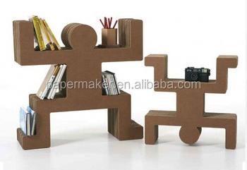 OEM Unique Creative Corrugated Cardboard Paper Home Decoration Bookshelf