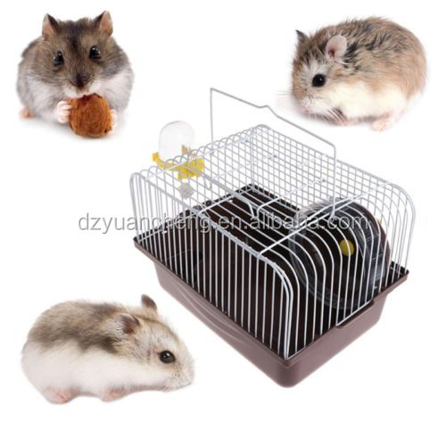 Portable Pet Hamster Cage House Travel Carrier Feeding Bowl With Running Wheel