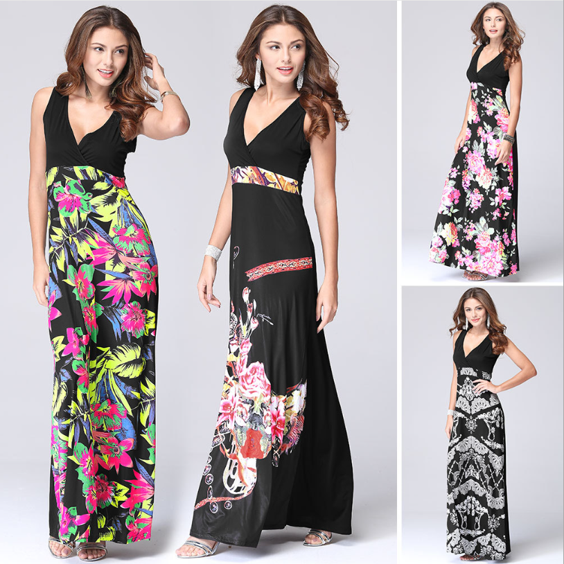 belanja online eropa dan amerika bunga gaun kasual fashion wanita pakaian musim panas 2017 w60482v