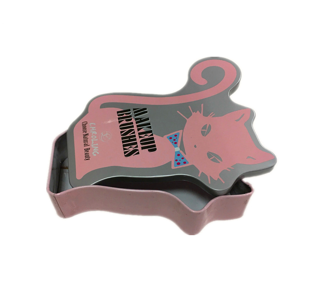 Beautiful design cat shape cosmetic brush packaging tin box with customize design